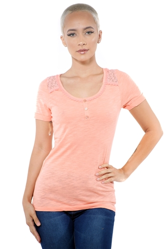 3097N-1799-Blush-Women's Lace Short Sleeve Top / 2-2-2
