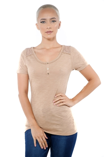 3097N-1799-Camel-Women's Lace Short Sleeve Top / 2-2-2