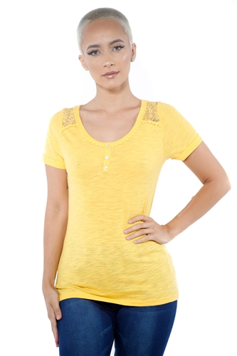 3097N-1799-Gold-Women's Lace Short Sleeve Top / 2-2-2