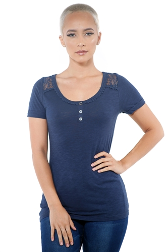 3097N-1799-Navy-Women's Lace Short Sleeve Top / 2-2-2