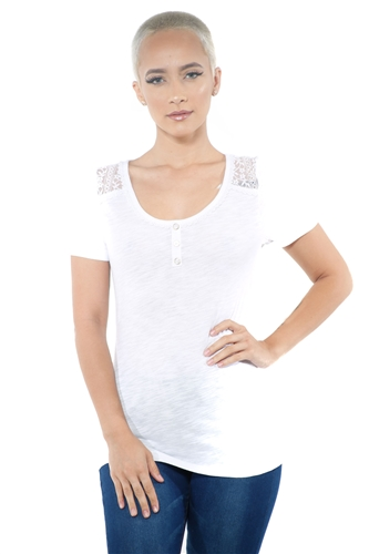 3097N-1799-White-Women's Lace Short Sleeve Top / 2-2-2