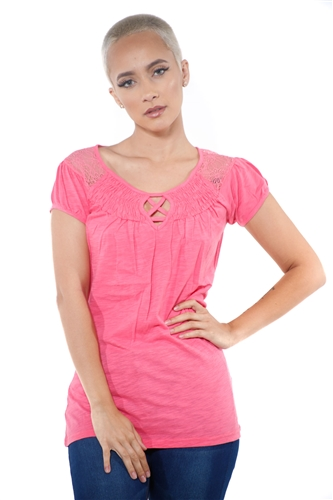 3097N-1817-Blush-Short Sleeve Top / 2-2-2