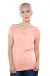 3097N-1817-Coral-Short Sleeve Top / 2-2-2