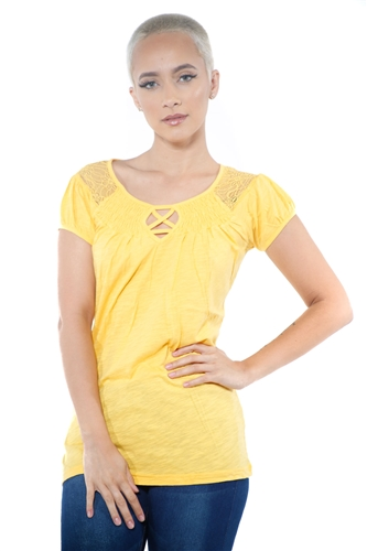 3097N-1817-Gold-Short Sleeve Top / 2-2-2