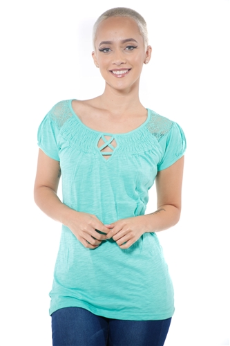 3097N-1817-Spearmint-Short Sleeve Top / 2-2-2