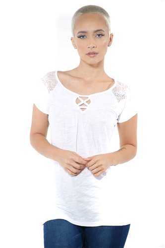 3097N-1817-White-Short Sleeve Top / 2-2-2