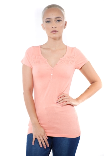 3097N-1818-Blush-Short Sleeve Top / 2-2-2