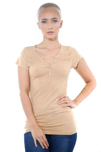 3097N-1818-Camel-Short Sleeve Top / 2-2-2
