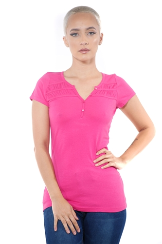 3097N-1818-Fuchsia-Short Sleeve Top / 2-2-2