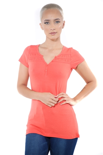 3097N-1818-Orange-Short Sleeve Top / 2-2-2