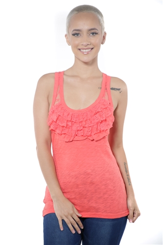 3097N-3063-Orange-Women's Lace Tank Top Racer Back Sleeveless Top  / 2-2-2