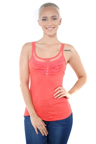3097N-3088-Orange-Women's Mesh Tank Top Racer Back Sleeveless Top  / 2-2-2