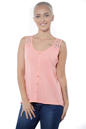 3097N-3211-Coral-Women's High Low Mesh Sleeveless Top  / 2-2-2