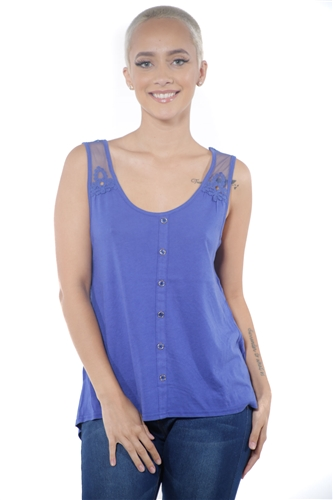 3097N-3211-Ink Blue-Women's High Low Mesh Sleeveless Top  / 2-2-2