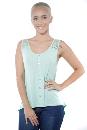 3097N-3211-Mint-Women's High Low Mesh Sleeveless Top  / 2-2-2