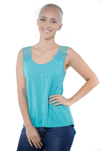 3097N-3211-Peacock-Women's High Low Mesh Sleeveless Top  / 2-2-2