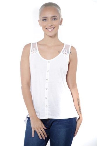 3097N-3211-White-Women's High Low Mesh Sleeveless Top  / 2-2-2