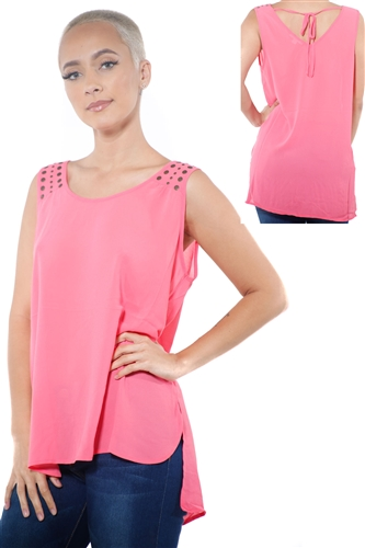 3097N-3214-Coral-Women's Tunic Chiffon Sleeveless Top / 2-2-2