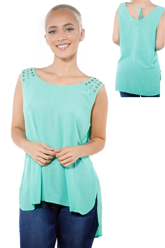 3097N-3214-Mint-Women's Tunic Chiffon Sleeveless Top / 2-2-2