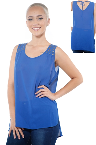 3097N-3214-Royal-Women's Tunic Chiffon Sleeveless Top / 2-2-2