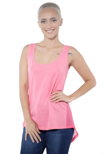 3097N-3288-Blush-Women's Tunic Chiffon Sleeveless Top / 2-2-2