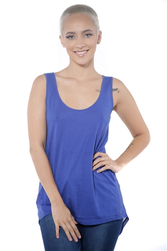 3097N-3288-Ink Blue-Women's Tunic Chiffon Sleeveless Top / 2-2-2