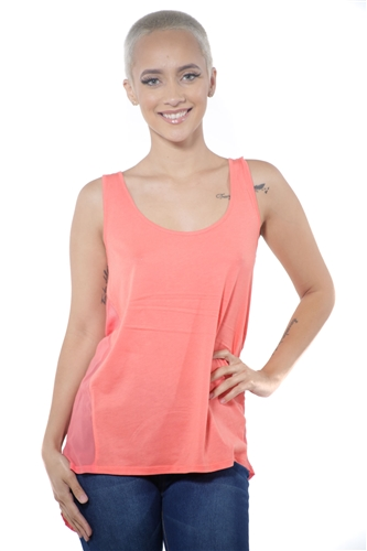 3097N-3288-Orange-Women's Tunic Chiffon Sleeveless Top / 2-2-2