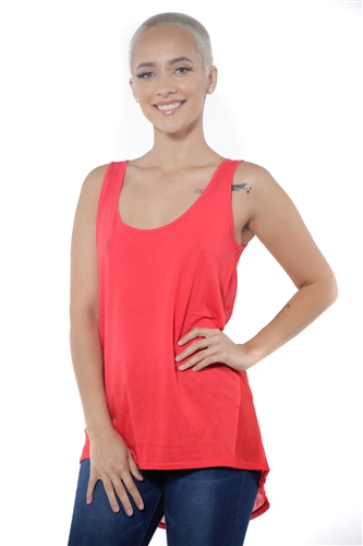 3097N-3288-Red-Women's Tunic Chiffon Sleeveless Top / 2-2-2