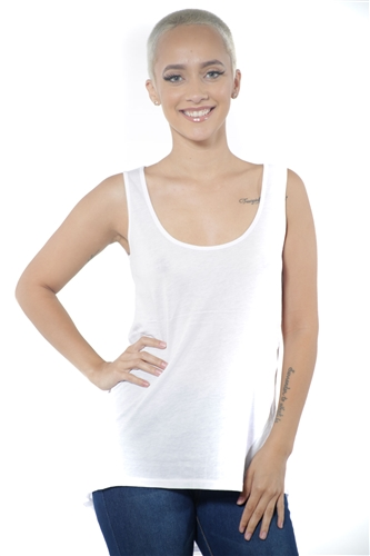3097N-3288-White-Women's Tunic Chiffon Sleeveless Top / 2-2-2