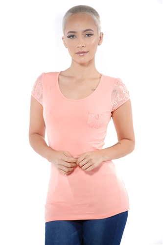 3097N-3328-Coral-Women's Lace Cap Sleeve Top/ 2-2-2