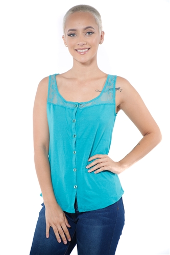 3097N-3335-Aqua-Women's Lace Button Up Sleeveless Top  / 2-2-2