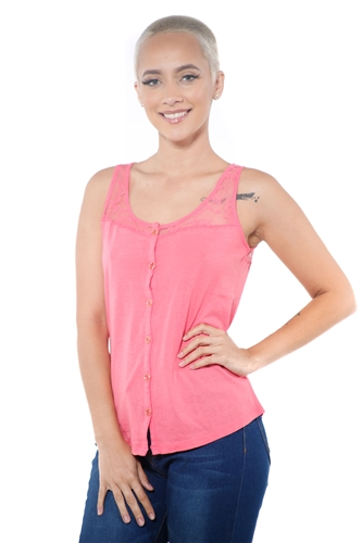 3097N-3335-Blush-Women's Lace Button Up Sleeveless Top  / 2-2-2