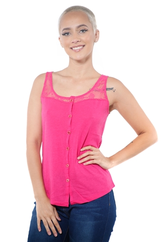 3097N-3335-Fuchsia-Women's Lace Button Up Sleeveless Top  / 2-2-2