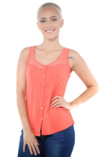 3097N-3335-Orange-Women's Lace Button Up Sleeveless Top  / 2-2-2