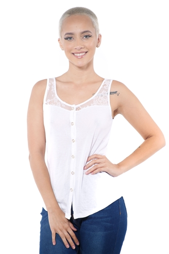 3097N-3335-White-Women's Lace Button Up Sleeveless Top  / 2-2-2