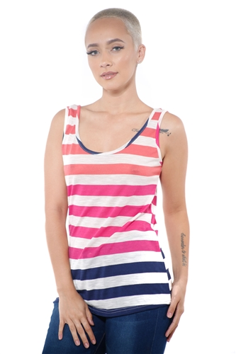3097N-3363-Fuchsia-Women's Casual Stripe Sleeveless Tank Top / 2-2-2