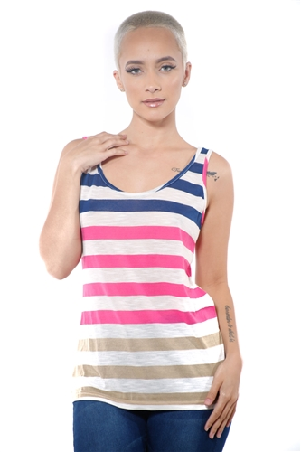 3097N-3363-Navy-Women's Casual Stripe Sleeveless Tank Top / 2-2-2