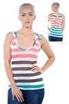 3097N-3364-Aqua-Women's Casual Stripe Sleeveless Tank Top / 2-2-2