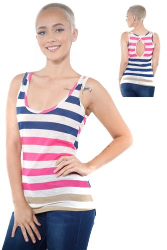 3097N-3364-Navy-Women's Casual Stripe Sleeveless Tank Top / 2-2-2