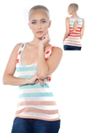 3097N-3364-Red-Women's Casual Stripe Sleeveless Tank Top / 2-2-2