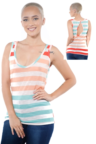 3097N-3364-Spearmint-Women's Casual Stripe Sleeveless Tank Top / 2-2-2