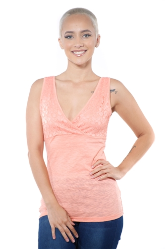 3097N-3394-Blush-Women's V Neck Lace Sleeveless Top / 2-2-2