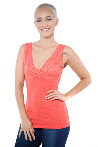 3097N-3394-Coral-Women's V Neck Lace Sleeveless Top / 2-2-2
