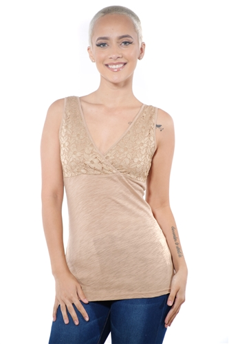 3097N-3394-Lt Camel-Women's V Neck Lace Sleeveless Top / 2-2-2