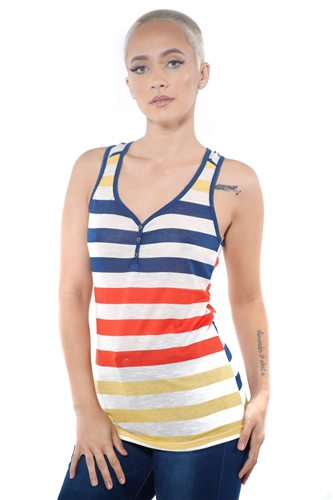 3097N-3395-Lime-Women's Casual Stripe Sleeveless Tank Top / 2-2-2