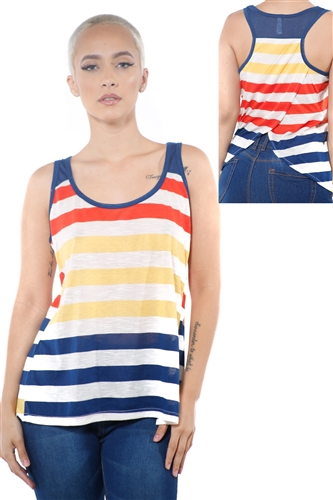 3097N-3396-Gold-Women's Casual Stripe Sleeveless Tank Top / 2-2-2