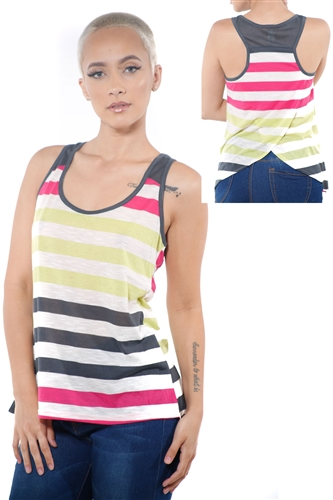3097N-3396-Grey-Women's Casual Stripe Sleeveless Tank Top / 2-2-2