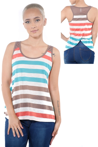 3097N-3396-Mocha-Women's Casual Stripe Sleeveless Tank Top / 2-2-2