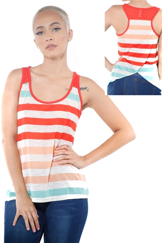 3097N-3396-Tomato-Women's Casual Stripe Sleeveless Tank Top / 2-2-2