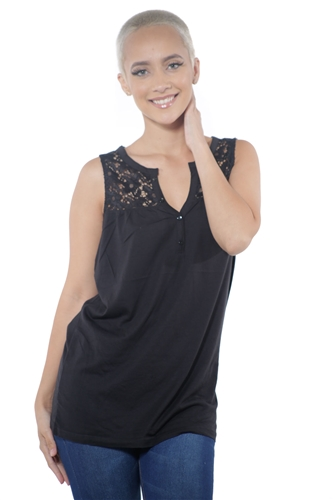 3097N-3414-Black-Women's V Neck Floral Lace Sleeveless Top / 2-2-2